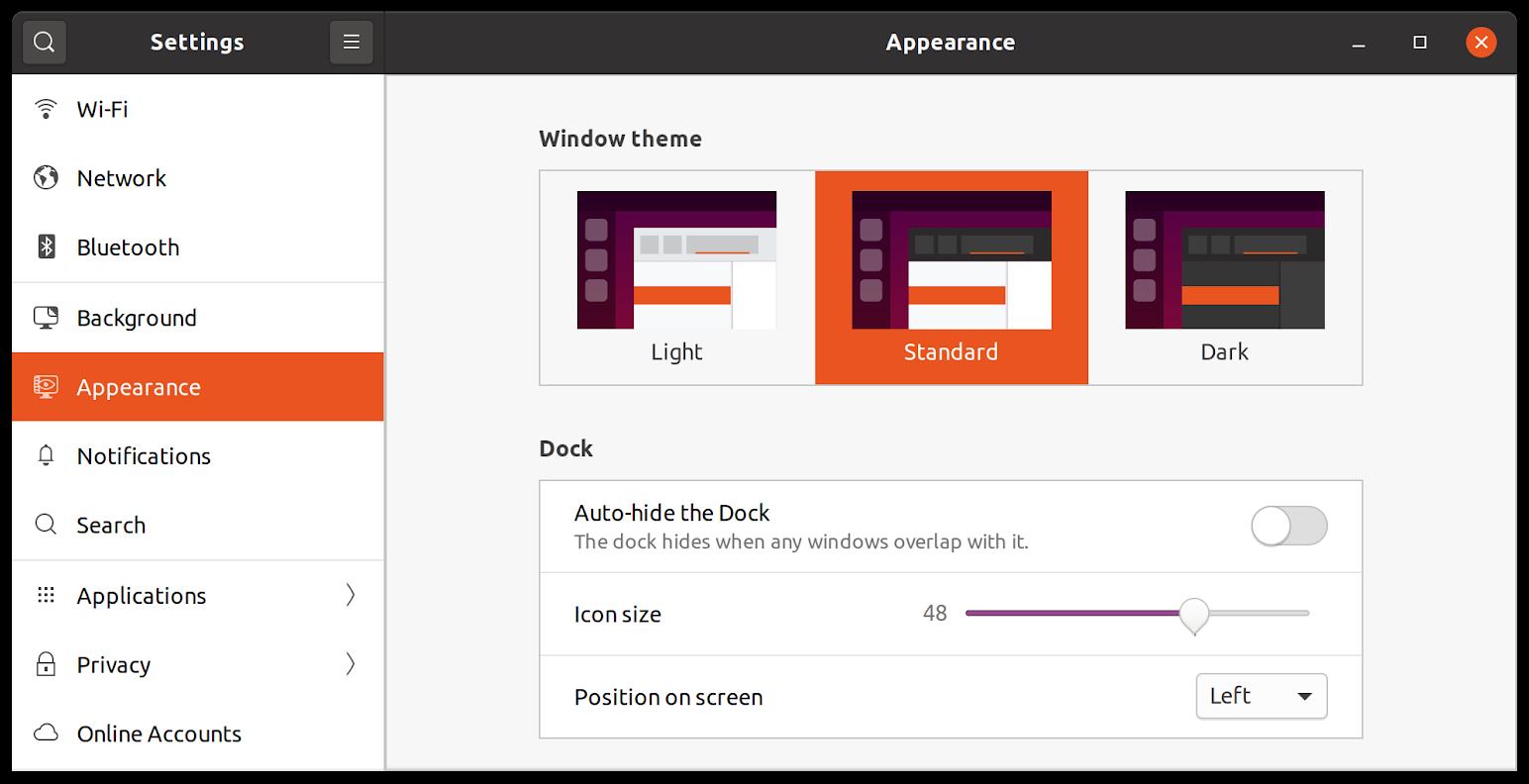 Ubuntu 20.04 LTS Appearance Settings Window