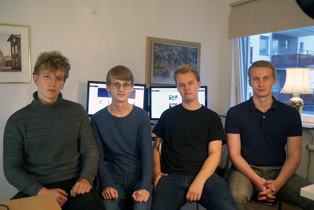 From the left: Johan Ronnerstam (Co-founder), Herman Lauenstein (Front-end programmer), Emil Wagman (Co-founder, CEO) and Albin Ledell (Co-founder, COO), missing from the picture: Joakim Berggren (Product manager)